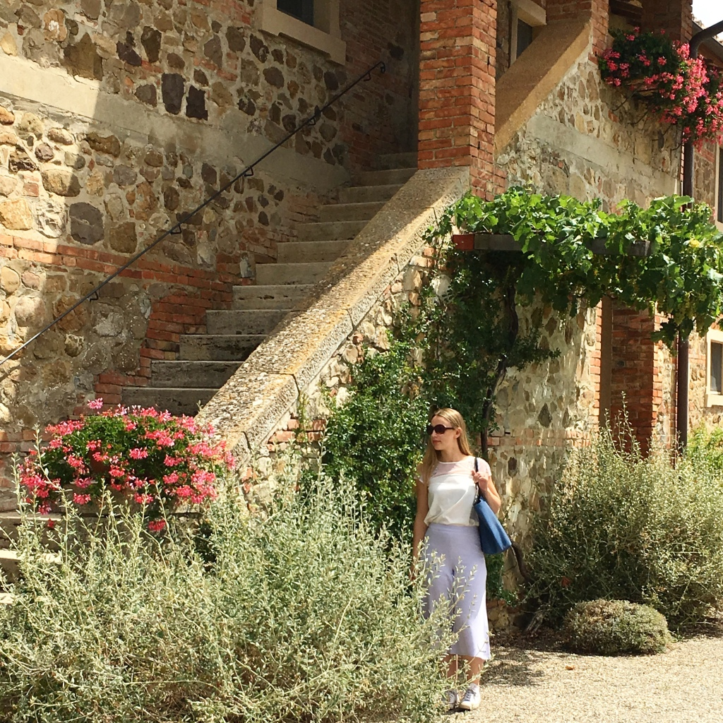 Me outside La Foce in Tuscany