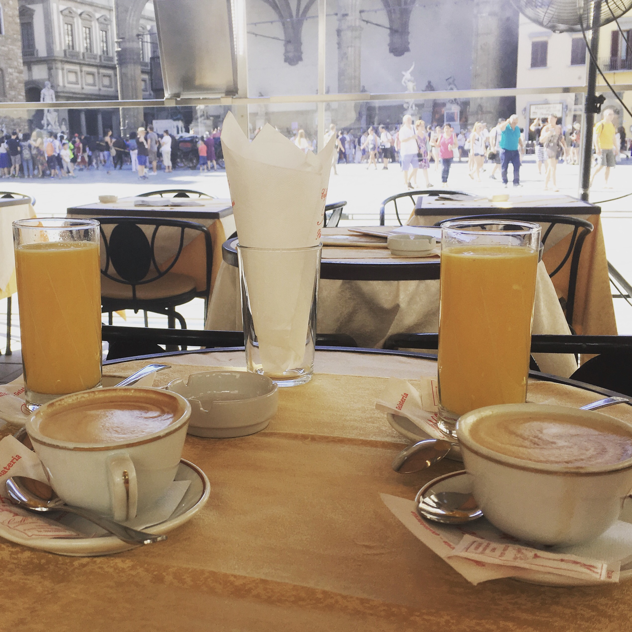 Sitting at a cafe in Florence