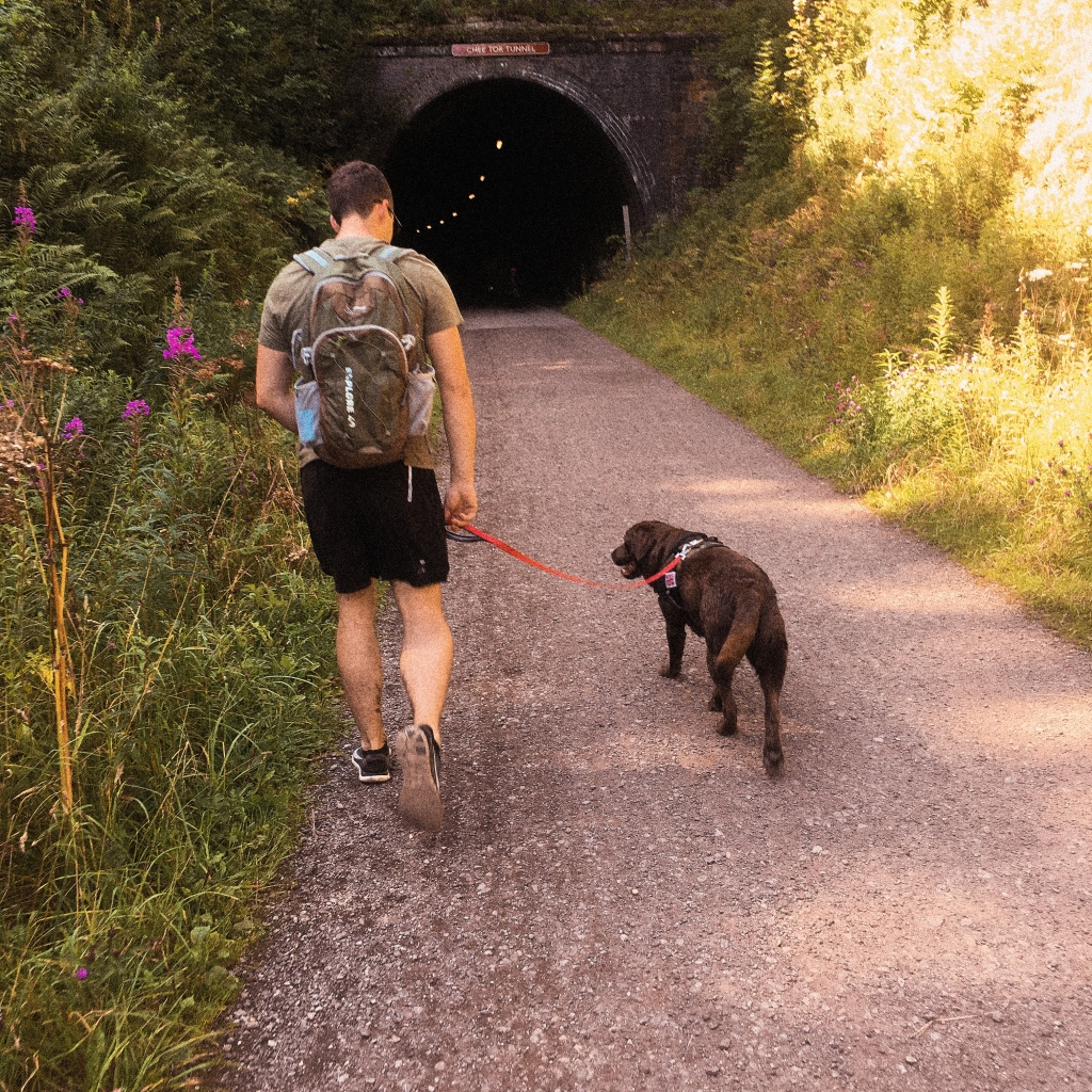 Labrador Mia and my husband walking along Monsal Trail near Chee Tor Tunnel