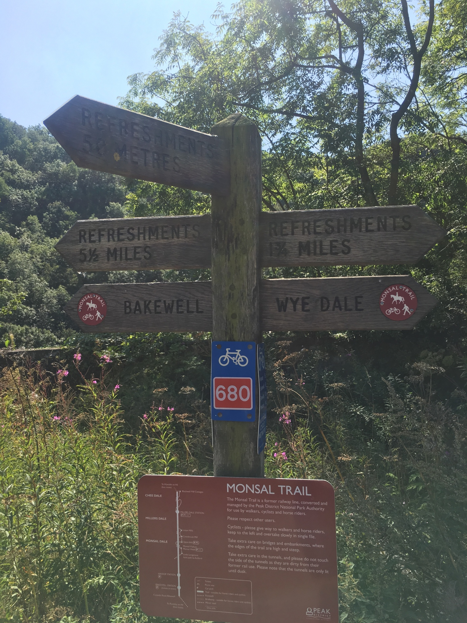 Sign on Monsal Trail, Derbyshire